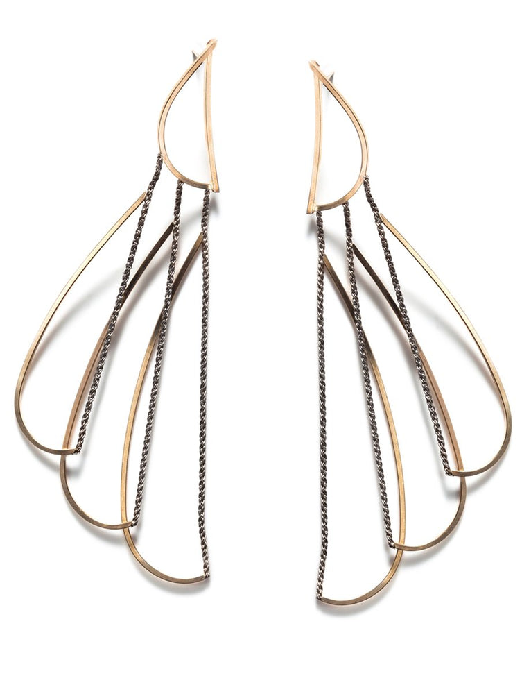 ANNIKA INEZ - Wire and Rope Chain Feather Earring (E668)