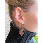 Fran Green Oak Leaf Copper Earrings