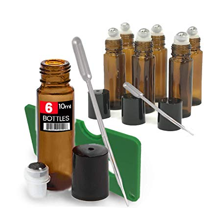 Amber Brown Roller Bottles Set (6 Pack)