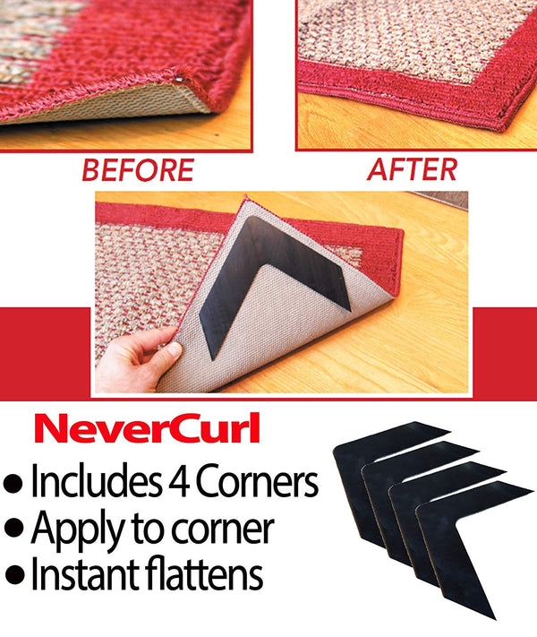 NeverCurl's Best V Shape Design to Instantly Stops Rug Corner Curling