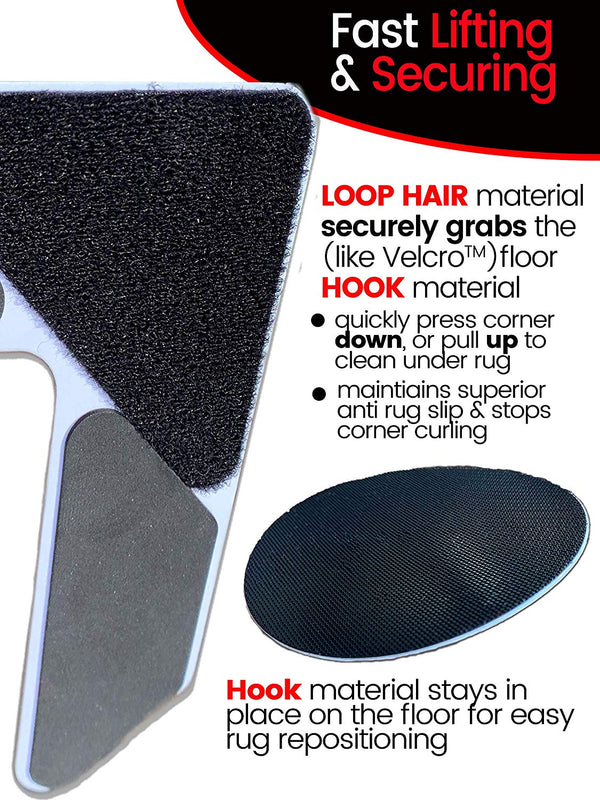 iPrimio Hook & Loop 4 Pack Rug Corners Gripper V Shape