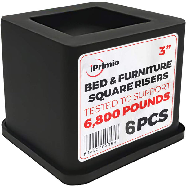 iPrimio Bed and Furniture Square Risers - Black 6Pack 3 INCH Size