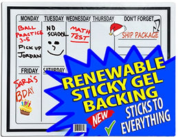 Day Of Week Calendar- Renewable Sticky Gel to Adhere to All Surfaces