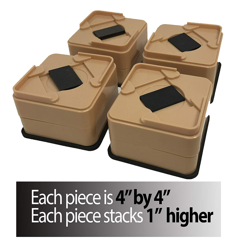 Stackable Brown Bed Risers-Includes Rubber Bottom, Won't Scratch Floors