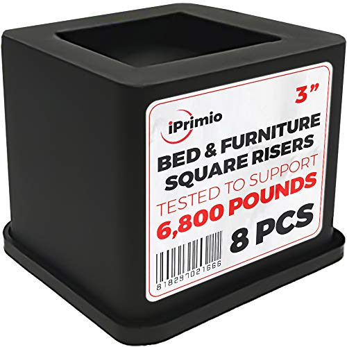 iPrimio Bed and Furniture Square Risers - 8 Pack 3 INCH Size