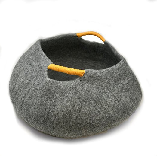 Natural Wool Large Cat Basket - Handmade Premium Shaped Felt