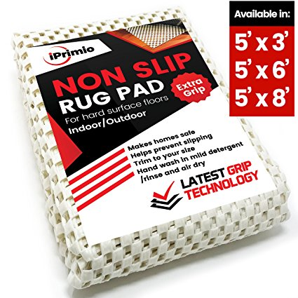 Non Slip Rug Pad 5' x 3' for Bathroom, Kitchen and Outdoor Area