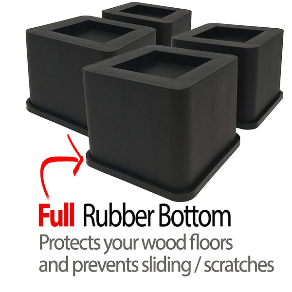 Bed & Furniture Risers- 3 INCH Size-Prevents Damage to Floor