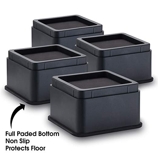 "iPrimio Bed and Furniture Risers – 4  Pack Square Elevator up to 2"" Per Riser"