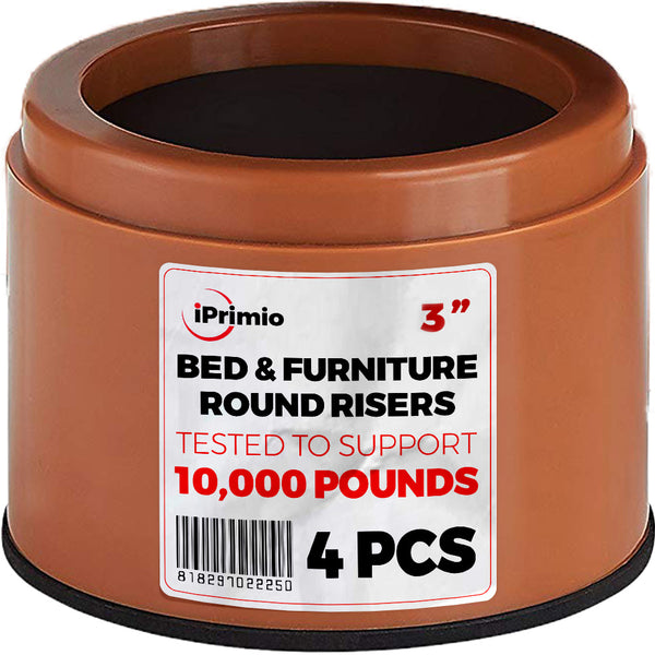 iPrimio Bed and Furniture Risers – 4 Pack Round Elevator up to 3""
