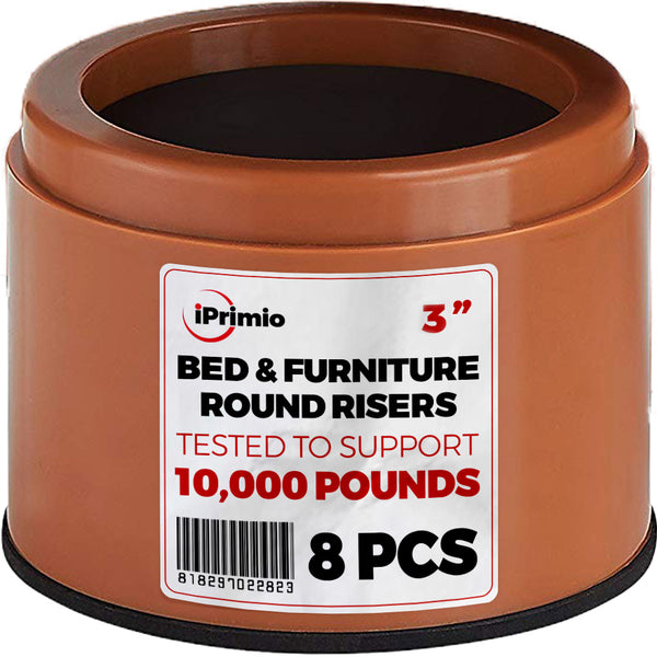 iPrimio Bed and Furniture Risers – 8 Pack Round Elevator up to 3""