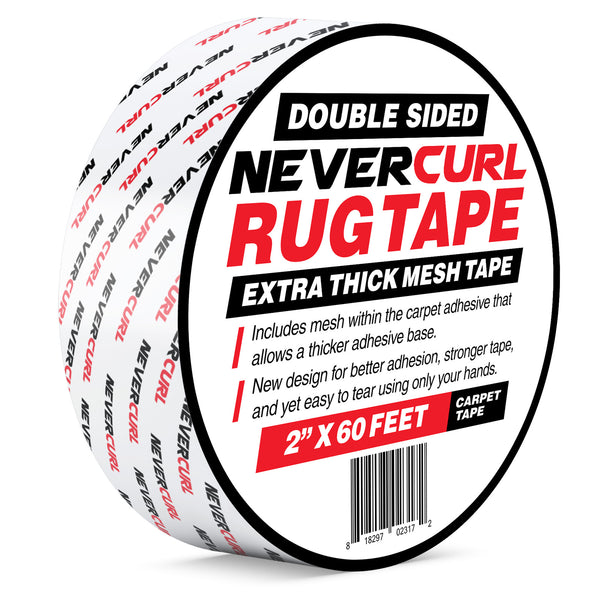 NeverCurl Double Sided Extra Thick Rug Tape with Mesh Fabric