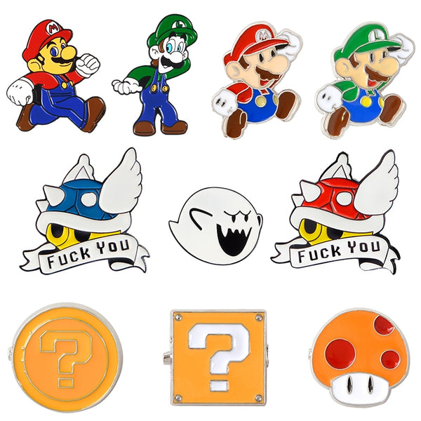 Blue Shell Super Mario Kart Enamel Pin Comics Video Game Boo Ghost Lapel Pins Badge Button pin Denim PU coat Punk Brooch Gift