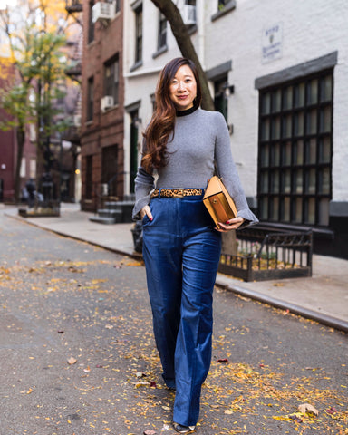 Grey Bell-Sleeve Cashmere Sweater