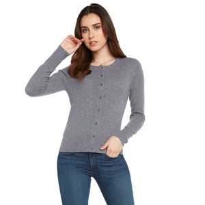 heather grey 100% cashmere cardigan sweater women