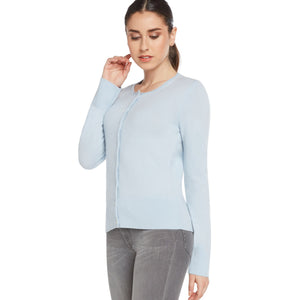 light blue 100% cashmere cardigan sweater women