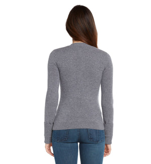heather grey women 100% cashmere v neck cardigan sweater