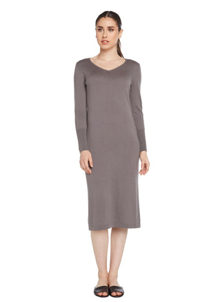 grey cashmere cotton blend loungewear dress