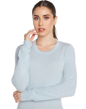 women classic blue crew neck cashmere sweater top knitwear layer