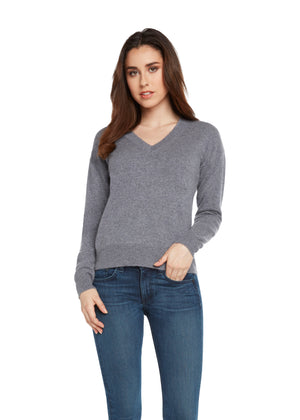 women grey v neck cashmere sweater top layer knitwear