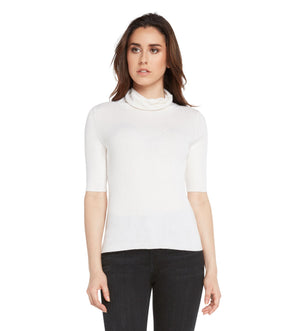 women white cashmere cotton blend relaxed turtleneck top