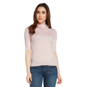 women light pink cashmere cotton blend relaxed turtleneck top