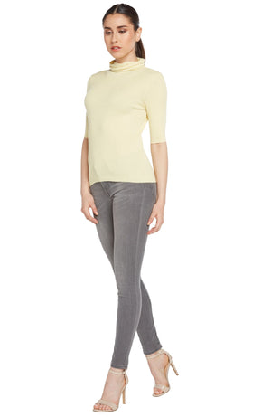 women light yellow cashmere cotton blend relaxed turtleneck top