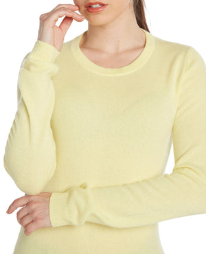 women classic yellow crew neck cashmere sweater top knitwear layer