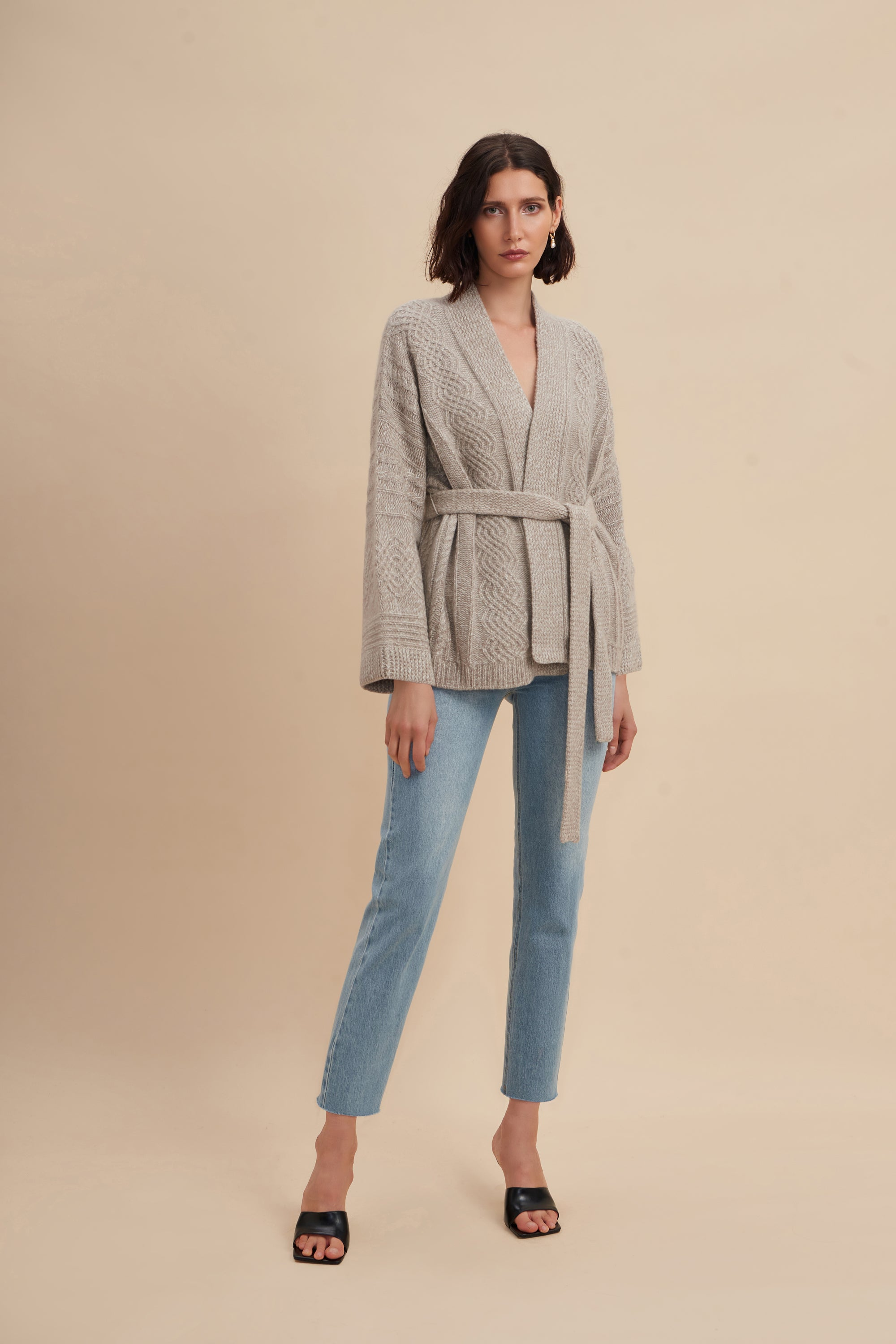 Spencer Cable Knit Wrap Coat