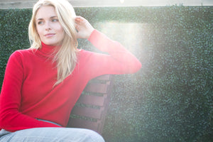 women red cashmere sweater top knitwear layer