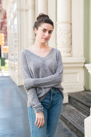 Florence Distressed V-Neck Sweater