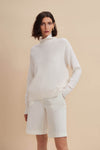 ROMY Oversized Turtleneck Sweater - White