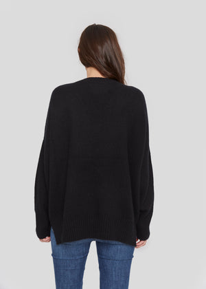 women classic oversized black v neck drop shoulder bulky cashmere sweater top knitwear