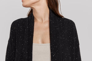 women speckled black cashmere open sweater dress coat