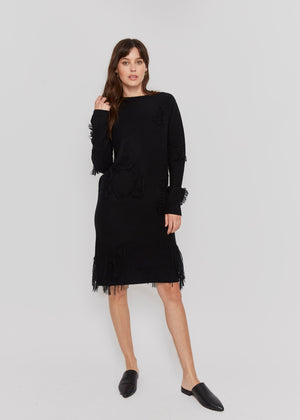 women  black cashmere sweater dress relax fit casual