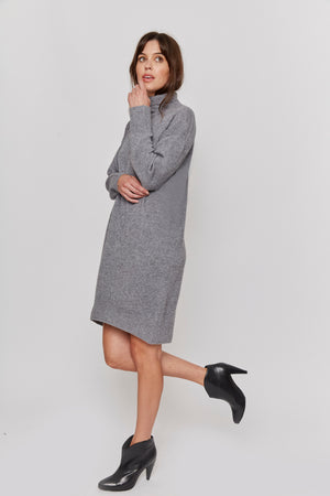 women grey turtle neck cashmere sweater dress relax fit casual elegant