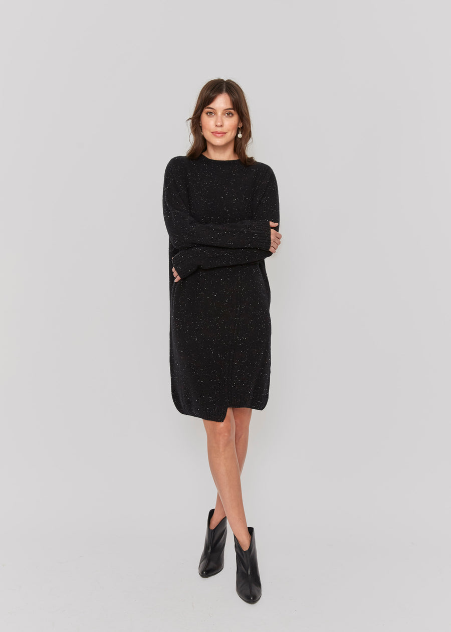 113a24693a6 women speckled black cashmere sweater dress relax fit casual elegant