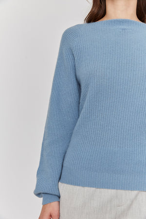 women blue relax casual  boat neck bateau neck cashmere sweater top layer knitwear