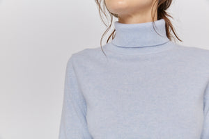 women blue cashmere sweater top knitwear layer