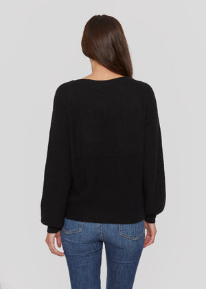 women black relax casual  boat neck bateau neck cashmere sweater top layer knitwear