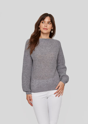 women grey relax casual  boat neck bateau neck cashmere sweater top layer knitwear