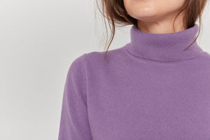 women purple turtleneck cashmere sweater top knitwear layer