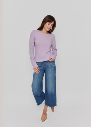 women purple crew neck cashmere sweater top knitwear layer