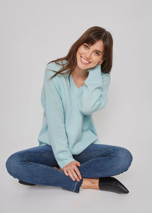 women classic oversized green v neck drop shoulder bulky cashmere sweater top knitwear