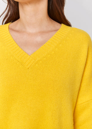 women classic oversized yellow v neck drop shoulder bulky cashmere sweater top knitwear