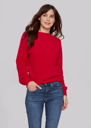 women red relax casual  boat neck bateau neck cashmere sweater top layer knitwear