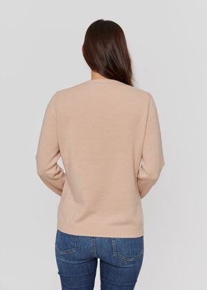 women beige neutral crew neck cashmere sweater top knitwear layer
