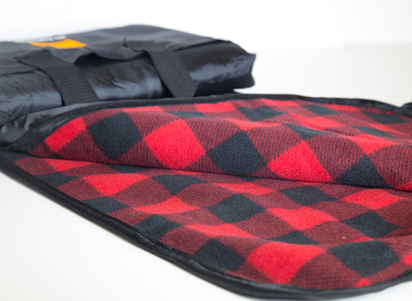 Self-Rolling Picnic Blanket - Black & Red Plaid - No Barriers Adventure Gear -