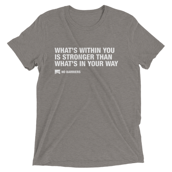 """What's Within You..."" Short Sleeve T-Shirt - 13 Colors & 8 Sizes! - No Barriers Apparel - Grey Triblend / XS"