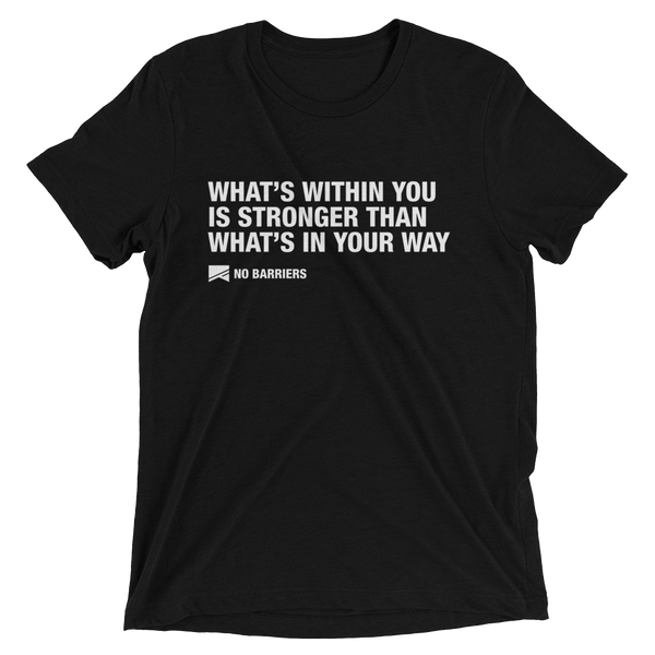 """What's Within You..."" Short Sleeve T-Shirt - 13 Colors & 8 Sizes! - No Barriers Apparel - Solid Black Triblend / XS"